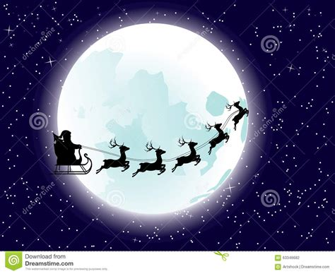 Flying Santa And Full Moon Stock Vector