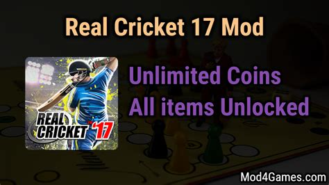 real cricket 17 mod unlimited coins all items unlocked mod4games