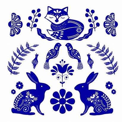 Folk Scandinavian Flowers Vector Fox Pattern Birds