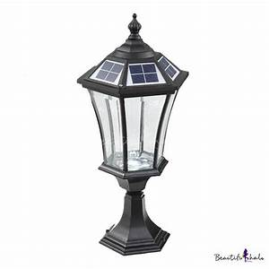 213939 h black finish clear glass solar led outdoor pillar for Outdoor light fixtures for pillars