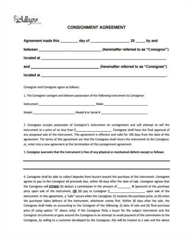 Free Consignment Stock Agreement Template by Consignment Agreement Form Sles 9 Free Documents In Pdf