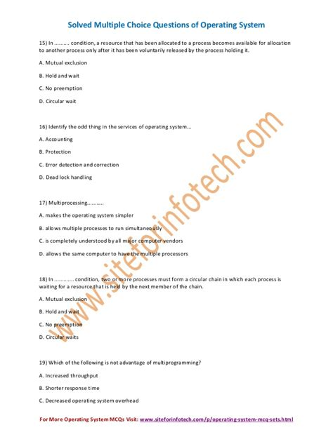 Operating System Multiple Choice Questions