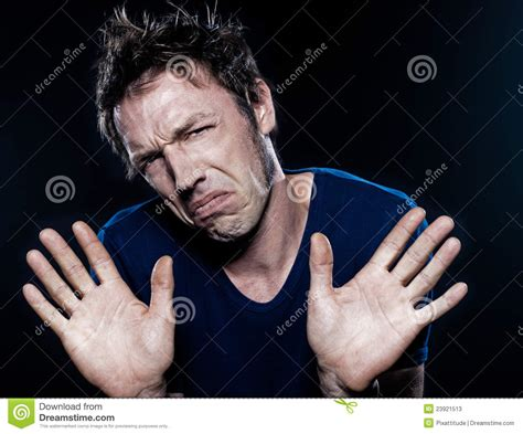 Funny Man Portrait Frowning Refusal Stock Image