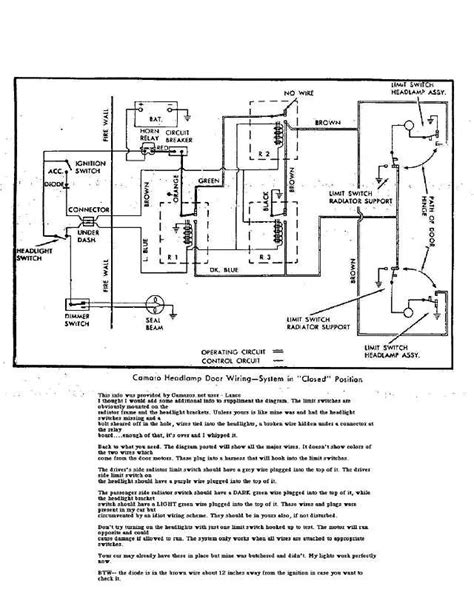 2000 Chevy Camaro Headlight Wiring Diagram by 67 Camaro Hide Away Headlight Wiring Diagram Team Camaro