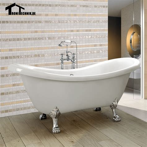 1600mm Freestanding Slipper Bath Tub Double Ended Roll Top