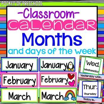 bright rainbow design calendar month headers  pocket