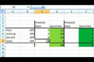 video bewertungsmatrix  excel erstellen anleitung