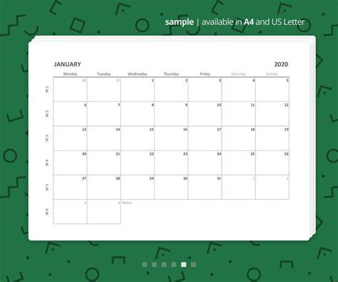 printable excel monthly calendar   minimalist etsy