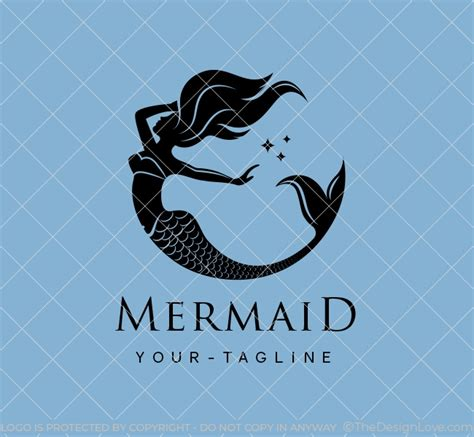 mermaid logo business card template  design love