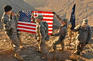 American Soldiers Fighting Flag