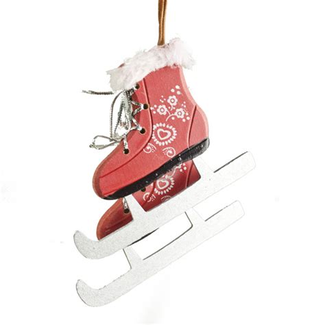 pair  red decorated wooden hanging skating boots cm