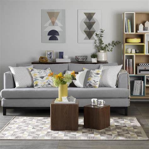 grey living room  retro textiles  shades  mustard
