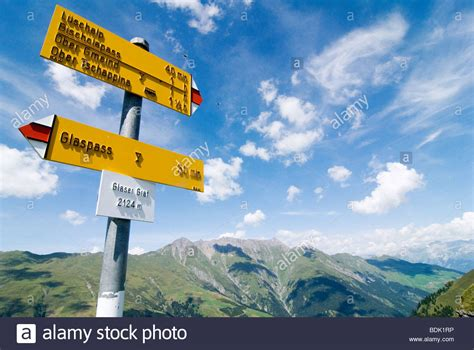 Direction Signs Alpine Hikes Alps Switzerland Stock Photo Direction Signs For Wanderer On The Glaser Grat In The