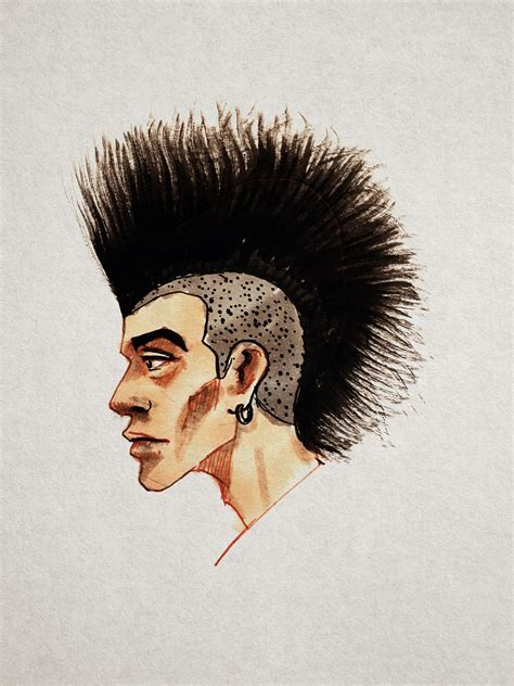 punk male head hair style drawing hair sketch