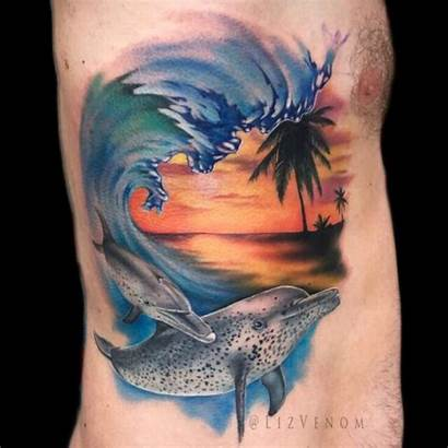 Tattoo Tattoos Realistic Watercolor Venom Dolphin Tropical