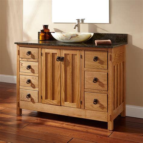 48 Mission Hardwood 7 Drawer Vessel Sink Vanity