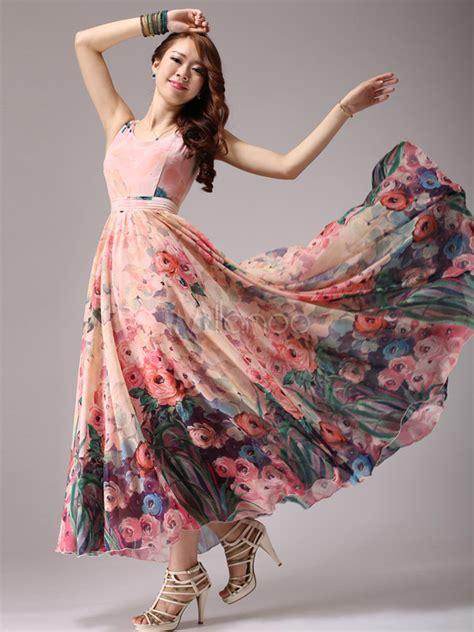 floral print chiffon maxi dress milanoocom