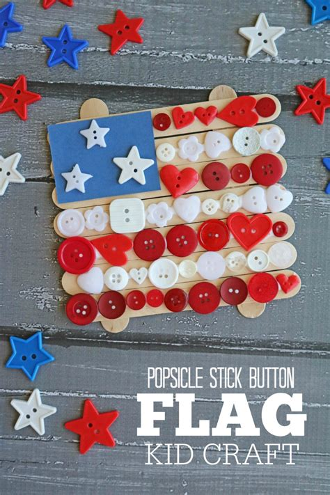 popsicle stick button flag kid craft   takes