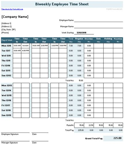 Time Card Excel Template 2 Week by Time Sheet Template For Excel Timesheet Calculator