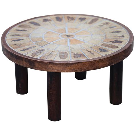 Roger Capron Signed Small Ceramic Coffee Table For Sale At