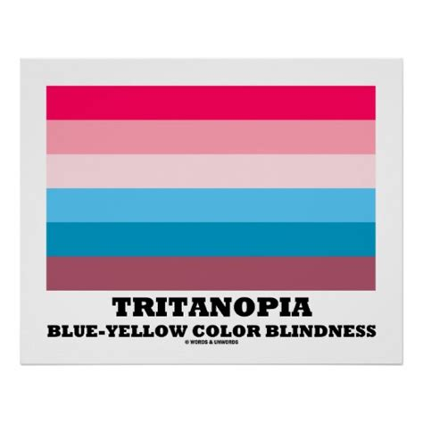 blue yellow color blind tritanopia blue yellow color blindness poster zazzle