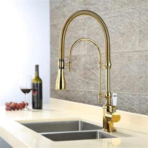 brass faucets kitchen brass kitchen faucet solid brass kitchen faucet with golden finish swivel spout pull down sink