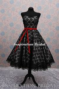 c364 black white 50s 60s vintage lace short wedding dress With black vintage wedding dresses