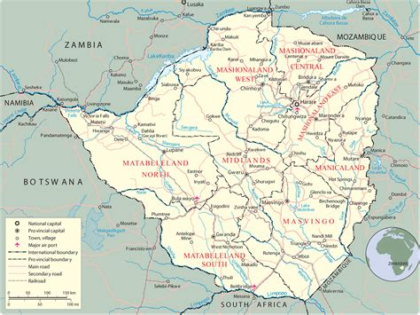 map  zimbabwe harare travel africa