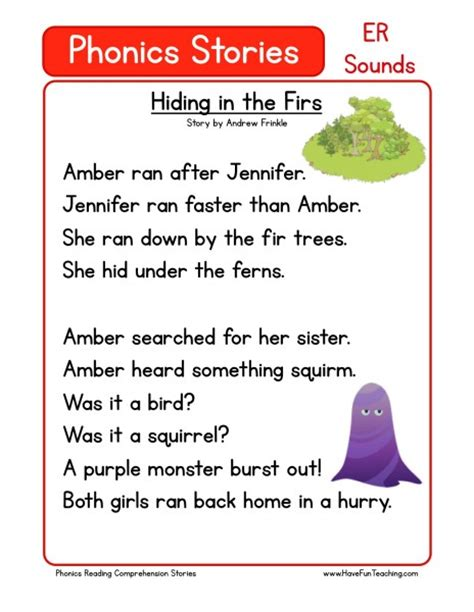 reading comprehension worksheet hiding in the firs