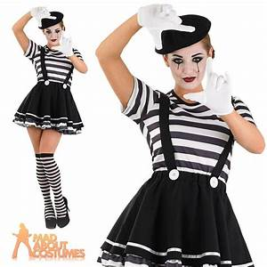 Adult Mime Artist Costume Womens French Street Circus ...
