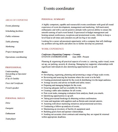 Event Planning Resume Exles by 10 Event Planner Resume Templates Free Sles Exles
