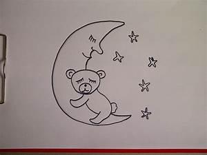 Zeichnungen Mit Bleistift Für Anfänger : b r auf dem mond zeichnen lernen f r kinder und anf nger how to draw teddy bear on the moon ~ Frokenaadalensverden.com Haus und Dekorationen