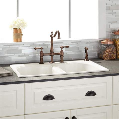 white kitchen sink 32 quot berwick bisque bowl cast iron drop in kitchen 1047
