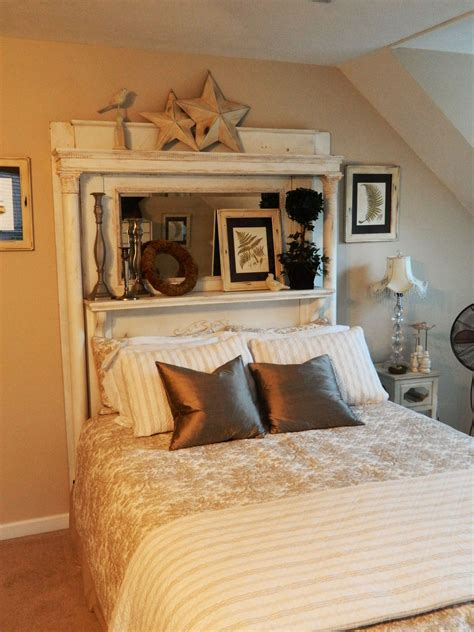 Guest Bed Headboard Using White Antique Fireplace Mantel