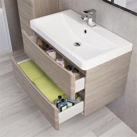 800mm austin ii light oak effect built in basin drawer