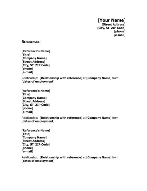 Reference Outline For Resume by References Format Resume It Resume Cover Letter Sle