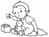 Baby Playing Coloring Pages Sheets Preschool Toddler Comment sketch template