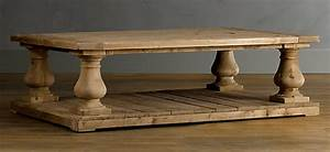 copy cat chic restoration hardware balustrade salvaged With restored wood coffee table