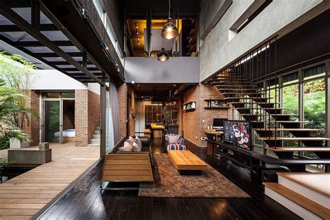 modern house industrial and modern side by side two houses in bangkok Industrial