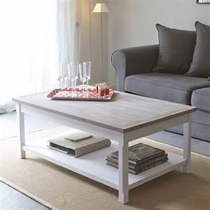 Table Basse Blanc Bois : table basse blanc bois table salle a manger en verre maison boncolac ~ Teatrodelosmanantiales.com Idées de Décoration