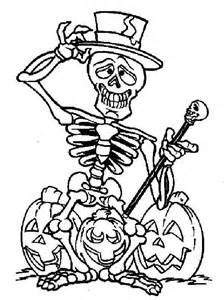 skeleton coloring page skeleton and three halloween pumpkin - Halloween Skeleton Coloring Pages