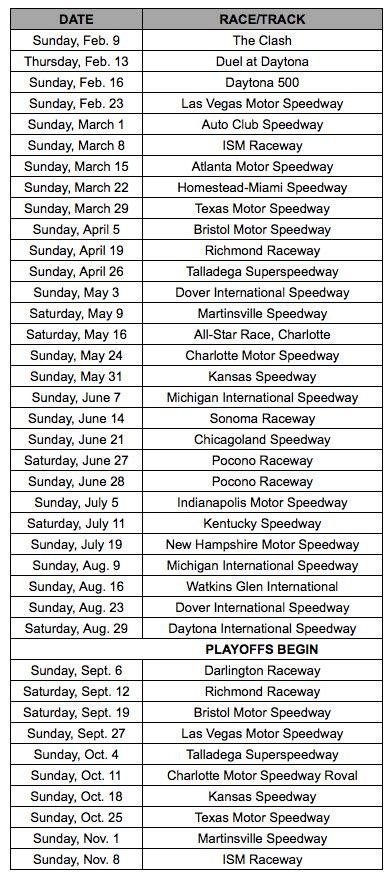 nascar releases  cup schedule  locale