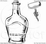 Bottle Whisky Clipart Vector Corkscrew Sketched Illustration Royalty Graphics Seamartini Coloring Pages Tradition Sm Template Sketch sketch template
