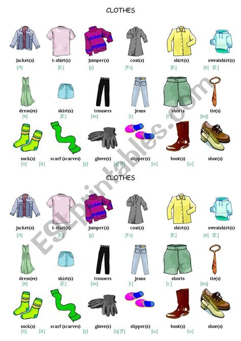clothes vocabulary esl worksheet  porcelaine