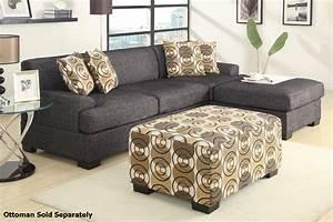 Poundex montreal ii f7446 f7445 grey sectional sofa for Sectional sofa bed montreal