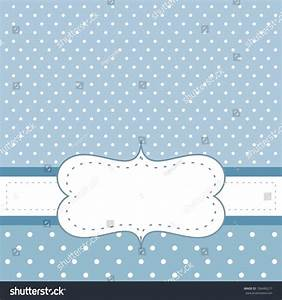 Sweet, Blue Dots Card Or Invitation With White Polka Dots ...
