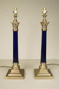 antiques atlas pair of corinthian blue glass column lamps With corinthian glass floor lamp