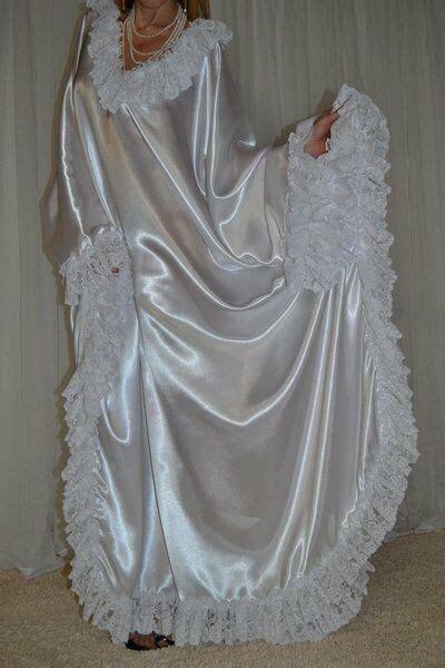 vtg satin lace slip caftan sweep robe nightgown l 3x ebay