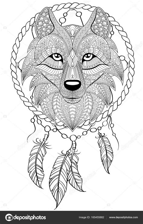 Wolf dream catcher coloring pages | Dream catcher with