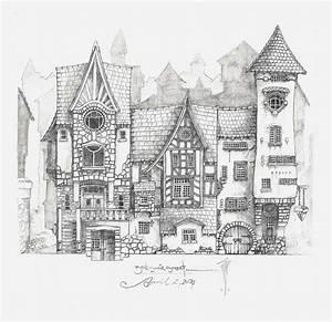 Architektur Haus Zeichnen : mittelalterliche stra enansicht fantasy pinterest zeichnen zeichnungen und architektur ~ Markanthonyermac.com Haus und Dekorationen
